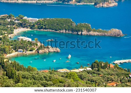 Panoramic view of Palaiokastritsa beaches on the island of Corfu, Greece.