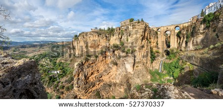 Panoramic view of Puente Nuevo (New Bridge) over the Tajo Gorge in Ronda. Andalusia, Spain