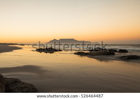 panoramic view of tablemountain at sunset in cape town, south africa