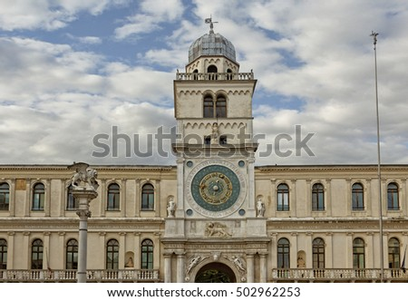 Panoramic view of the Clock Tower building of medieval origins overlooking Piazza dei Signori in Padova, Italy