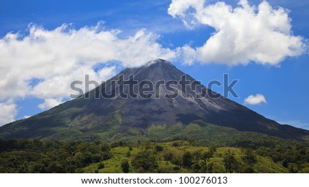 Panoramic view of the famous Arenal Volcano, Costa Rica.