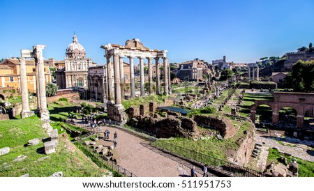 Panoramic view of the Imperial Forums in Rome, Italy