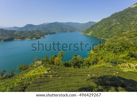 Panoramic view of the Mysterious Feitsui Reservoir and Oolong Tea Garden, Taipei, Taiwan