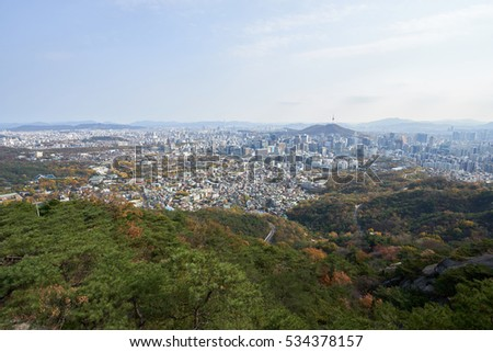 Panoramic view of the Seoul from the top of Inwangsan Mountain in South Korea.
