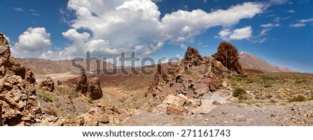 panoramic view of the valley in front of the volcano Teide