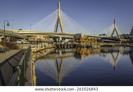 Panoramic view of the Zakim Bridge in Boston, Massachusetts, USA on a sunny summer day.