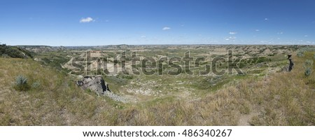 Panoramic View of Theodore Roosevelt National Park landscape, North Dakota, USA.