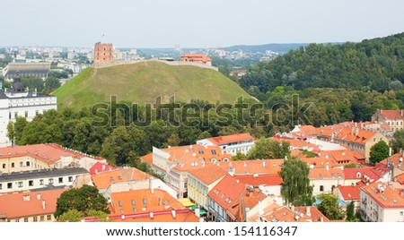 Panoramic view of Vilnius with Gediminas tower and hill