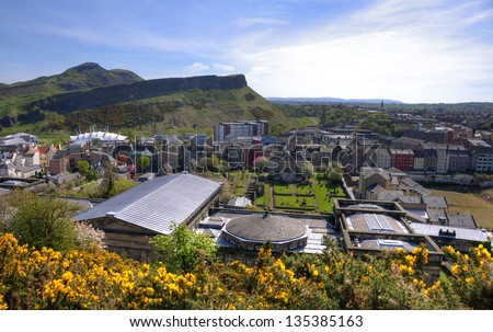 Panoramic view on Arthur's Seat in Edinburgh, Scotland