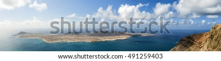 Panoramic view on La Graciosa island, Lanzarote, Spain