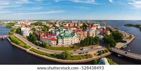 Panoramic views from height of Vyborg fortress, Saint-Petersburg, Russia.