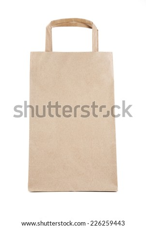 Paper Bag in front view isolated on white.