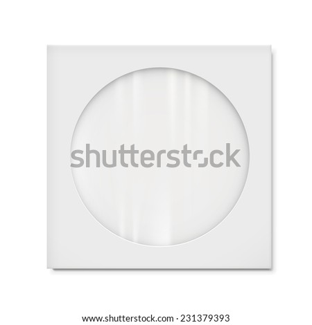 paper bag with transparent window isolated on white background