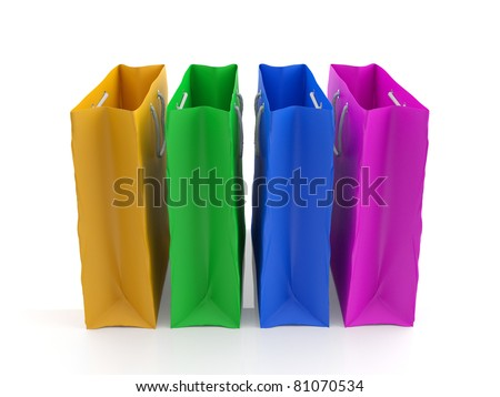 Paper bags. Colorful 3d model