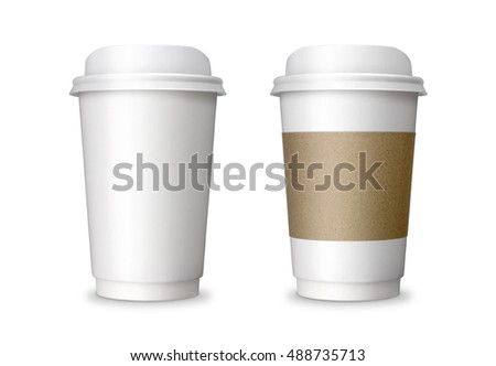Paper Coffee cup, take away, take out or take home Paper cup with blank copy space, ideal for hot drink, coffee, tea, chocolate isolated on white background with clip path. realistic photo image