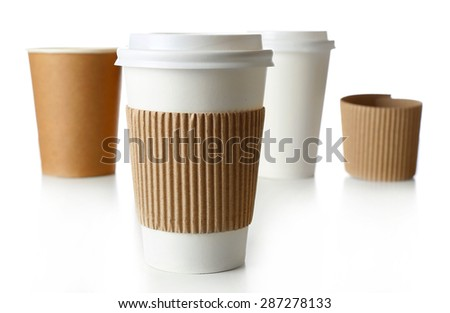 Paper cups isolated on white