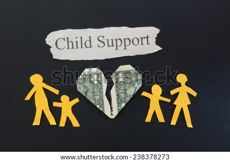 paper family with broken money heart and Child Support text