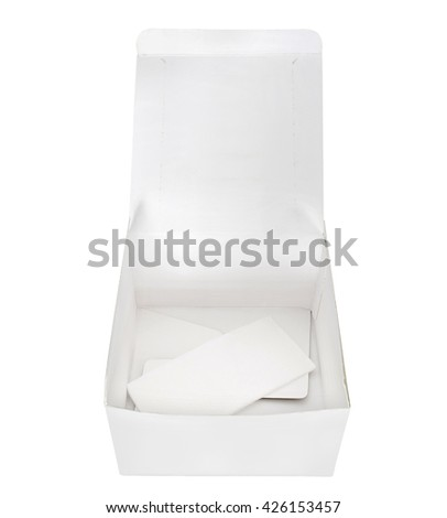 Paper food container on white background.
