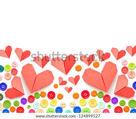Paper heart and colorful plastic buttons with copy space .Valentines day theme .