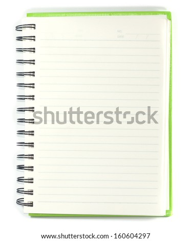 Paper notebook right page on white background isolated with pencil