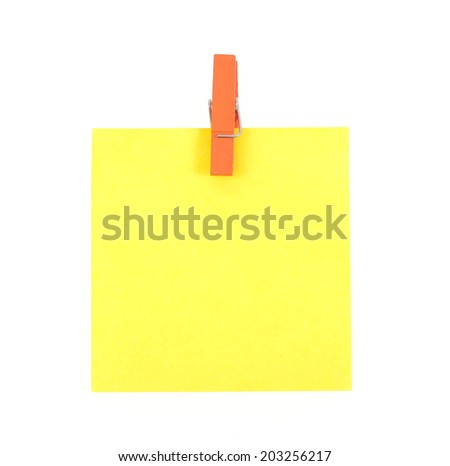 paper notes and clothespins isolated on white background