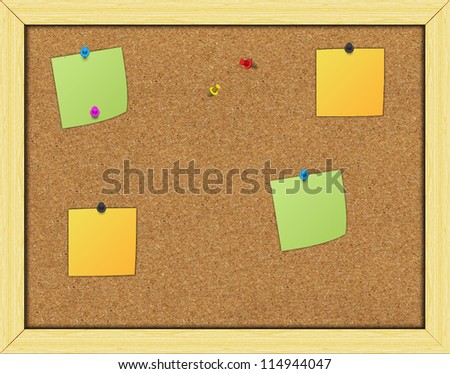 Paper on an cork notice board
