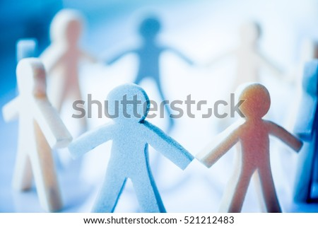 paper people chain concept of social help in group