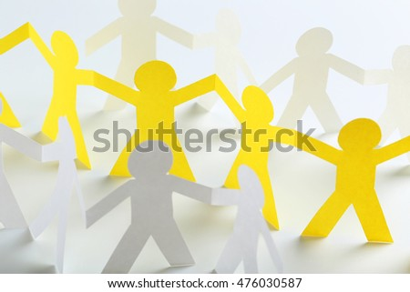 Paper people on the white background