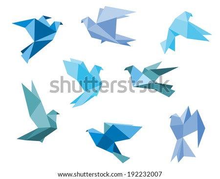 Paper pigeons and doves logo set in origami style. Vector version also available in gallery