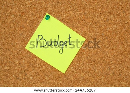 "Paper sheet with inscription ""Budget"" on wooden background"