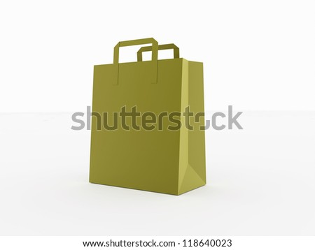 Paper shoping bag isolated on white background