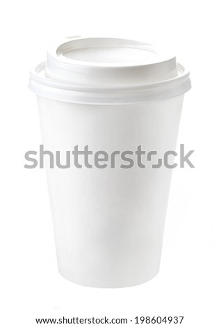 paper take away coffee cup on a white background