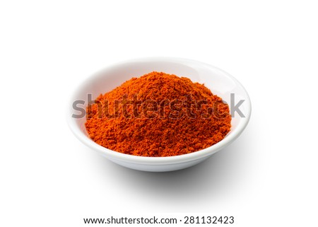 Paprika powder isolated on white background