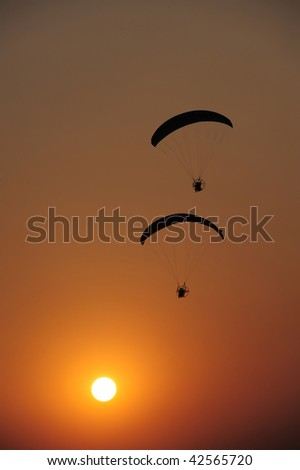 Paramotor on Sunset