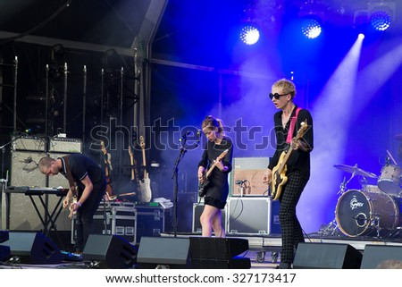 PARIS - AUG 28: Wolf Alice (band) in concert at Rock En Seine Festival on August 28, 2015 in Paris, France.