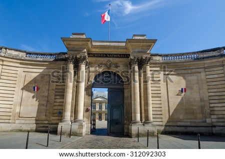 PARIS, FRANCE - AUGUST 29, 2015: The National Archives created at the time of the French Revolution in 1790 and is one of the largest and most important archival collections in the world.