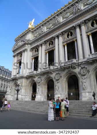 PARIS, FRANCE - CIRCA JULY 2011: Opera theatre with unidentified tourists