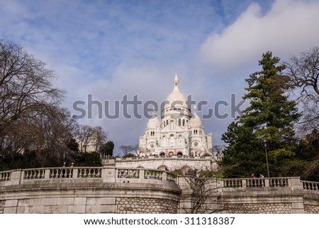 Paris, France - December 25: The Basilica of the Sacred Heart of Paris, atop Montmartre, on December 25, 2013.