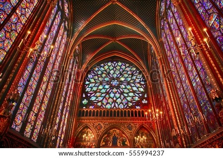 PARIS â?? FRANCE: DECEMBER 27, 2016. The Sainte-Chapelle is a royal chapel in the Gothic style, within the medieval Palais de la Cité, the residence of the Kings of France  in Paris, France.