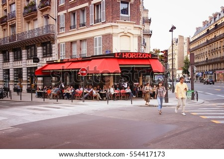 PARIS, FRANCE - JULY 24, 2011: Tourists eat at L'Horizon restaurant on July 24, 2011 in Paris, France. Paris is the most visited city in the world with 15.6 million international arrivals in 2011.