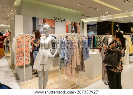 PARIS, FRANCE - JUN 6, 2015: Villa clothes section in the Galeries Lafayette city mall. It was open in 1912