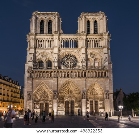 PARIS,FRANCE-JUNE 2016: Notre Dame cathedral at night