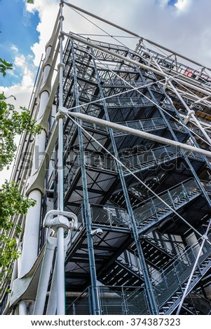 PARIS, FRANCE - MAY 13, 2014: Centre Georges Pompidou (1977, architects Richard Rogers and Renzo Piano) was designed in style of high-tech architecture.