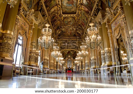 PARIS, FRANCE - MAY 21, 2014 : Inside the auditorium of the Opera Garnier