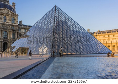 PARIS, FRANCE - MAY 18, 2014: View of Louvre building at courtyard of Louvre Museum at sunset. Louvre Museum is one of the largest and most visited museums worldwide.