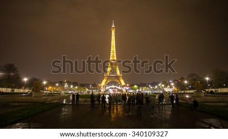 Paris, France - November 26, 2014: Paris cityscape with Eiffel tower in Paris, France. It's an iron lattice tower located on the Champ de Mars and named after the engineer Gustave Eiffel.