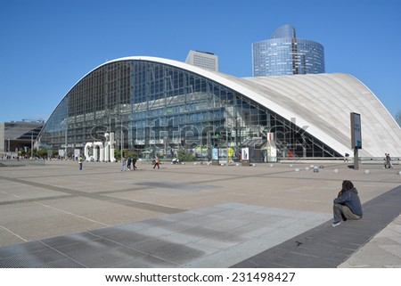 PARIS FRANCE OCTOBER 15: district La Defense on october 15, 2014 in Paris. It is Europes largest business district with 560 hectares area 72 glass and steel buildings and skyscrapers