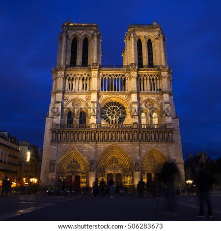 Paris, France, October 1, 2016 - Notre Dame Cathedral in Paris, France