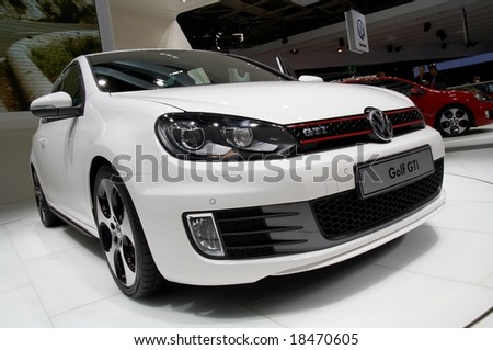 PARIS, FRANCE - OCTOBER 02: Paris Motor Show on October 02, 2008, showing Volkswagen Golf GTI, front view