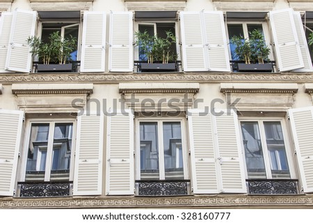 PARIS, FRANCE, on AUGUST 28, 2015. Architectural details of typical buildings